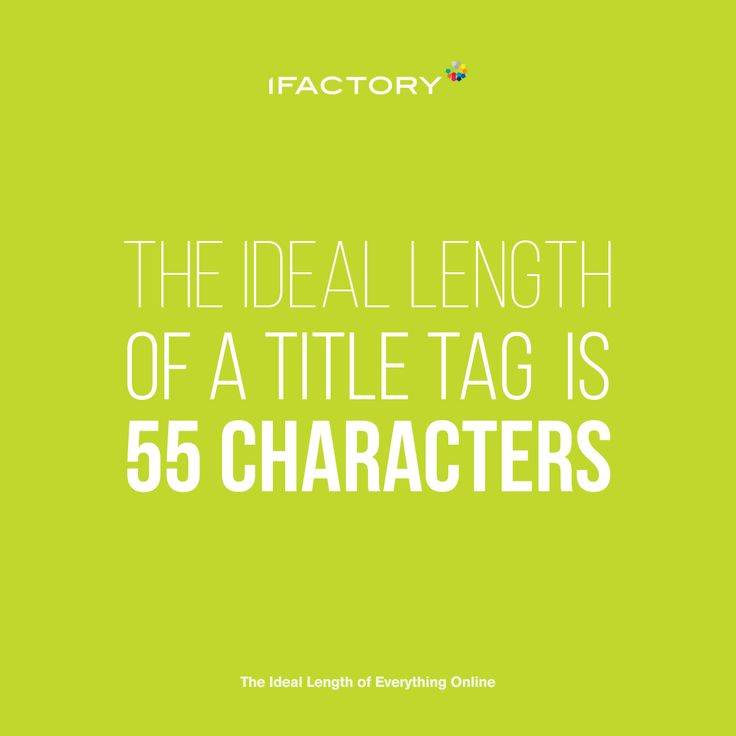 The ideal length of a title tag is 55 characters. #title #content #digitalmarketing #digitalagency #ifactory #webdesign #ifactorydigital