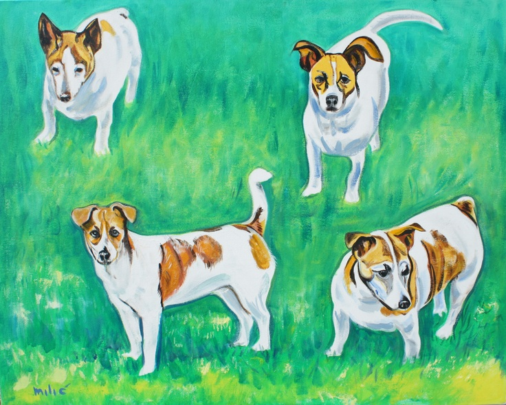"""4 terriers 30x24"""" oil on canvas by dragoslav milic: Pet Portraits, Dragoslav Milic, Oil On Canvas, Terriers 30X24"""