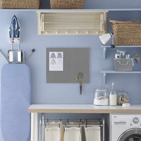 Organized laundry room = good mood: Decor Ideas, Laundry Rooms Organizations, Color, Blue, Wall Decals, Vinyls Letters, Rooms Ideas, Utility Rooms, Irons Boards