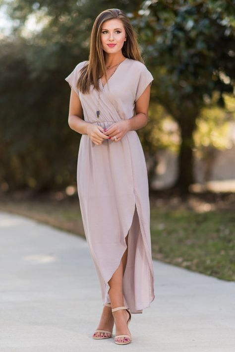 """Ethereal Ease Maxi Dress, Taupe"" This maxi dress is wonderfully ethereal! It's so light and flowing!! It has a flattering surplice neckline and elastic waist that helps define you already amazing figure! #newarrivals #shopthemint"
