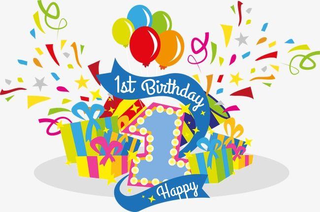 Vector Celebrate Their First Birthday, Birthday Clipart