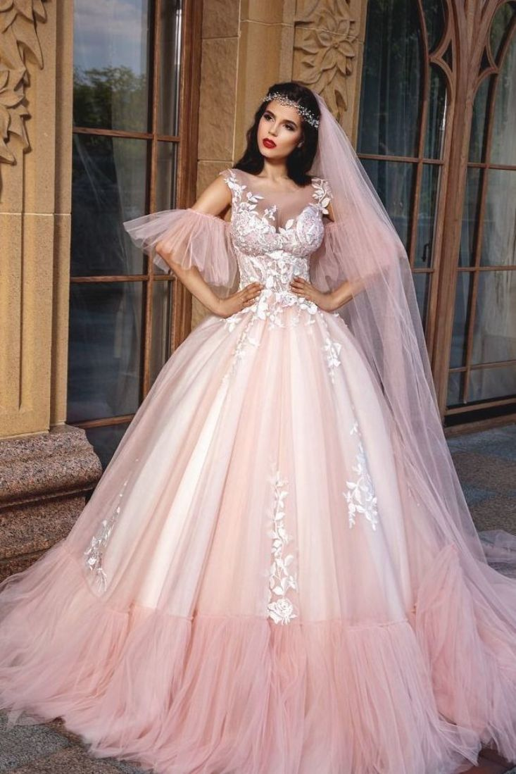 Stunning Embroidered Sleeveless Pink Cinderella Wedding Dress Bridal Ball Gown With Fitted Wedding Dress Long Train Wedding Dress Petticoat For Wedding Dress [ 1099 x 733 Pixel ]