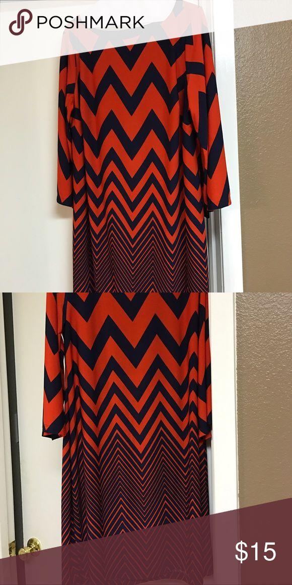 Beautiful ladies dress Ladies beautiful navy blue and orange chevron dress Dresses Midi