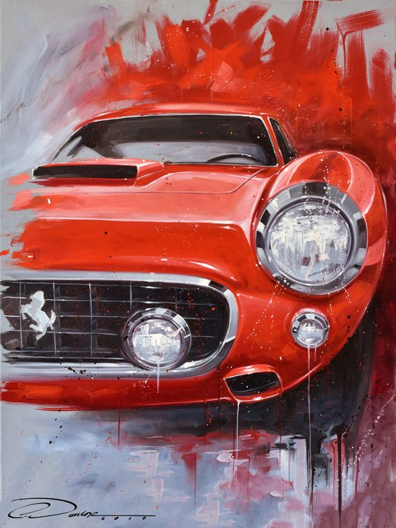 Classico Rosso Oil Painting On Canvas Limited Edition Signed Numbered Prints Available At Www Pinstripechris Com Automotive Art Car Painting Car Artwork