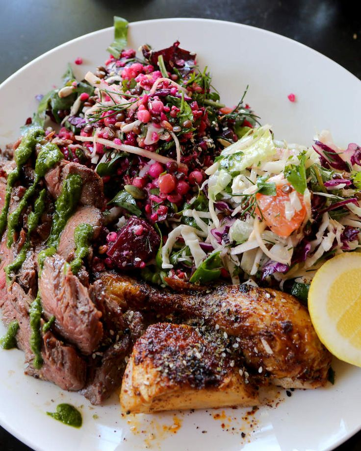 Beetroot and Kohlrabi salad with Hopkins river beef and roasted Milwa chicken at Feast of Merit cafe in Richmond.