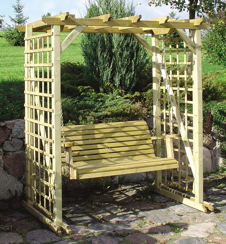 This Wooden Garden Swing Bench With Pergola Trellis Attached, Has Treated  Wood And Is Of