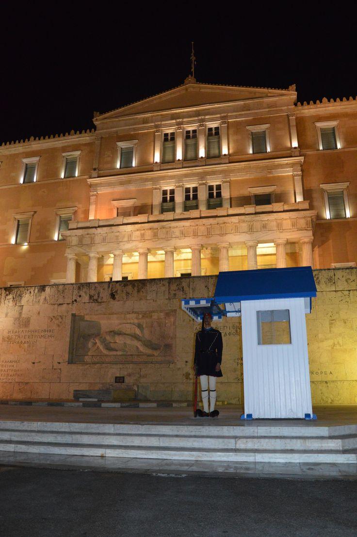 Greece, Athens, Evzones on guard, Parliament building 3-5-2015 Presidential Guard, Προεδρική Φρουρά,  Athens, Greek Guard, Evzones, Evzon Εύζωνες