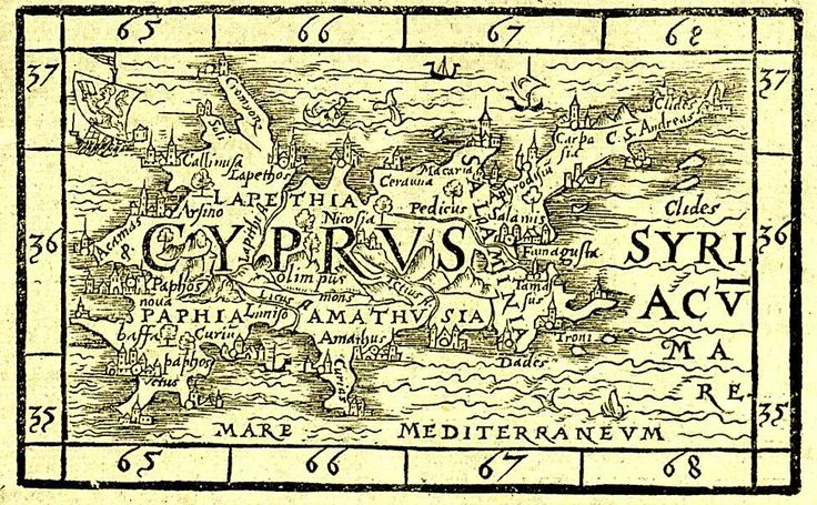 """Cyprus old map with towns and castles Gulielmo XYLANDRO , """"Cyprus"""" , woodcut (75x120mm) page 779 , Basle 1571 http://cyprussite.com/img/map02.jpg http://cyprussite.com/map/history-all.html"""