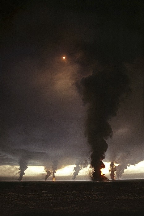 "pinner states :: This is a picture of the Kuwait oil fields burning during the Gulf War in 1991. My brother was over there at the time. I see people captioning this as ""tornadoes"" a lot, which is sad in a way. It just goes to show how soon some forget. @kittyspaws Thanks for the information!"