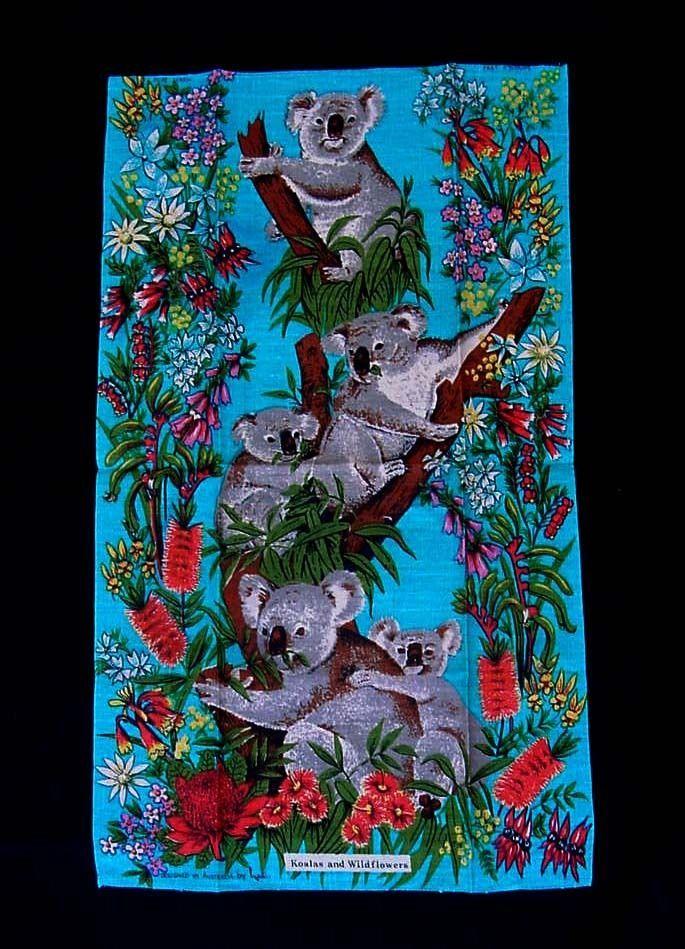VINTAGE KOALA BEAR LINEN TEA TOWEL WILDFLOWERS KITCHEN AUSTRALIAN DESIGNED NEIL #VintageLinens