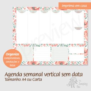 imprimível printable agenda semanal vertical português fichário A4