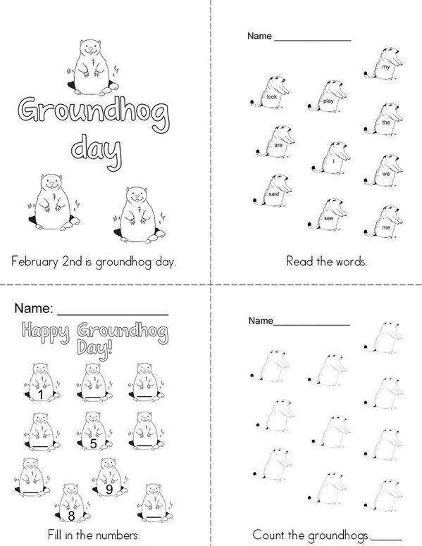 Groundhog Mini Book - Sheet 1