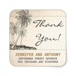 Vintage thank you stickers for weddings with palm trees.