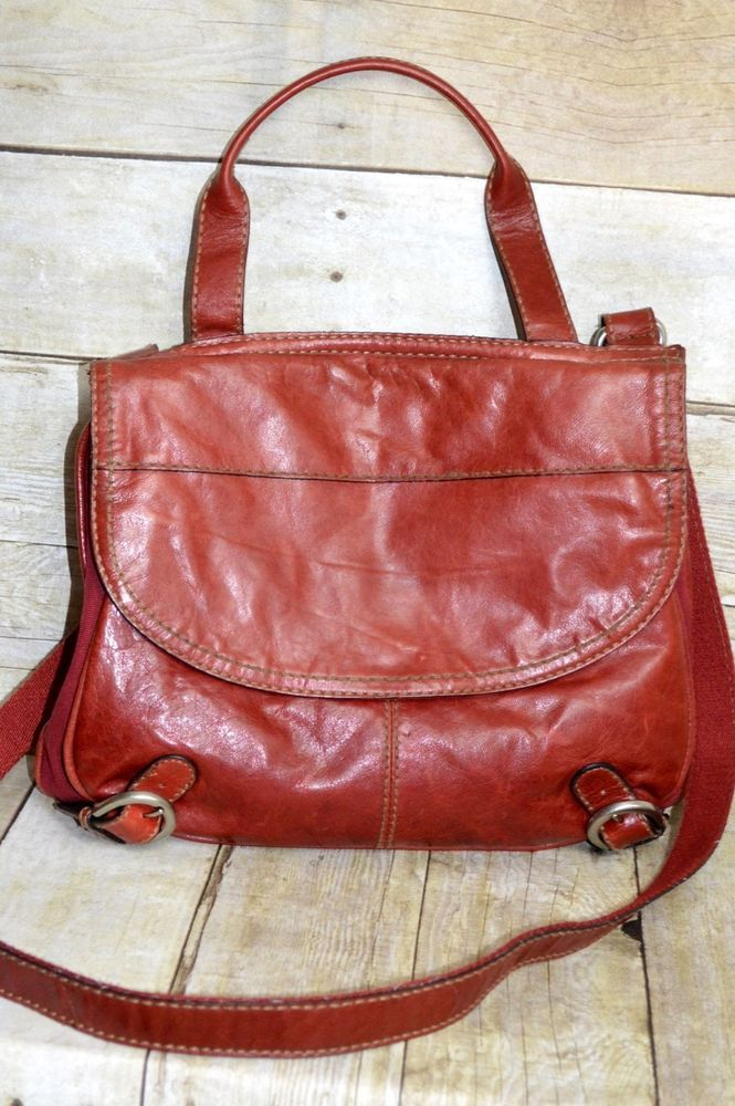 Fossil Red Leather and Canvas Cross Body Messenger Large Bag Purse #Fossil #MessengerCrossBody