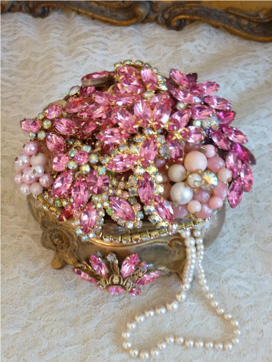 Elegantly Shabby Small Bejeweled Treasure Box From The Collection By Debbie Del Rosario-Weiss, Juliana,brush, comb, vintage, Clock,tray, mirror, perfume, antique, vintage, victorian, Sparkle, Eisenberg, Judy Lee,