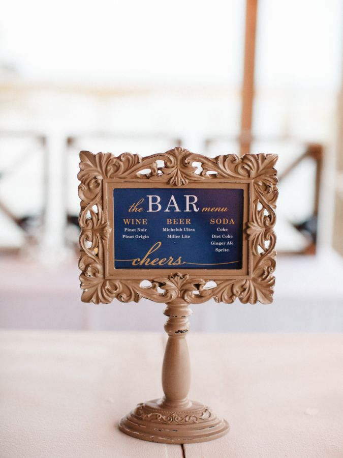 Navy and gold wedding sign: http://www.stylemepretty.com/south-carolina-weddings/beaufort/2017/01/24/a-lowcountry-wedding-at-its-finest/ Photography: The Happy Bloom - http://www.thehappybloom.com/