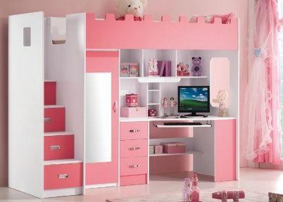 Roze hoogslaper voor meisjes, model Chica (lola) | Halfhoogslapers en hoogslapers