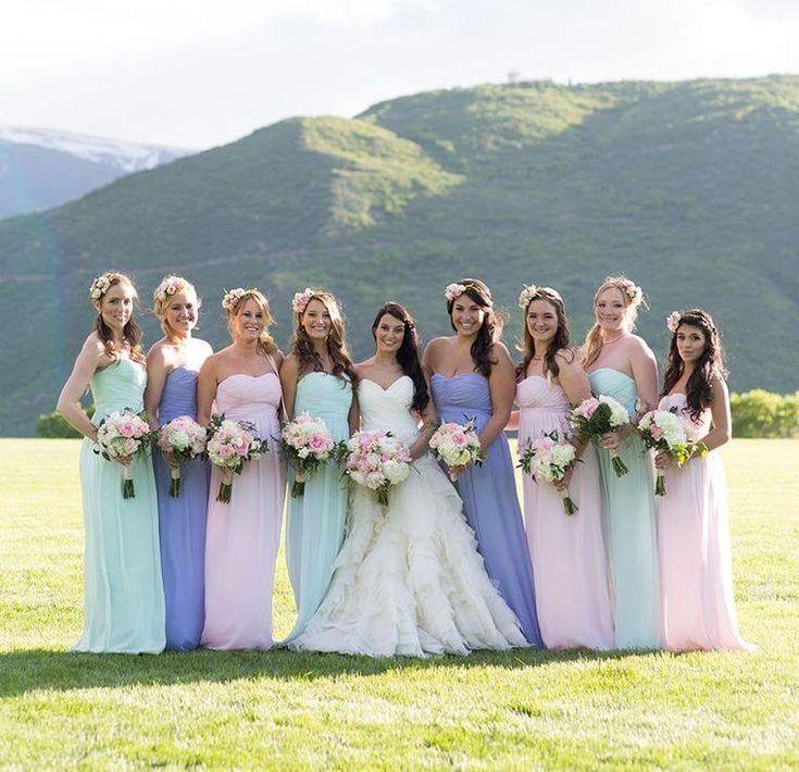 Robes demoiselles d'honneur couleur pastel longues
