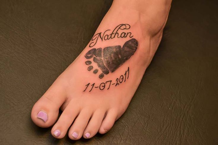 Baby Foot Print and name at the Illustrator Tattoo, by Debi.