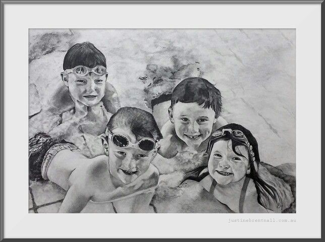 Graphite pencil drawing. Family Portriat
