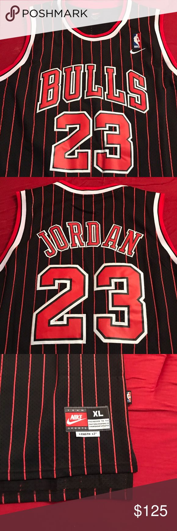 Micheal Jordan Bulls #23 Jersey Micheal Jordan #23 95-96 Season Black Pin Stripe Authentic Jersey Nike Shirts Tank Tops