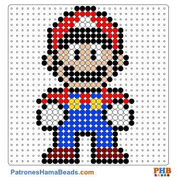 Super Mario plantilla hama bead. Descarga una amplia gama de patrones en formato PDF en www.patroneshamabeads.com