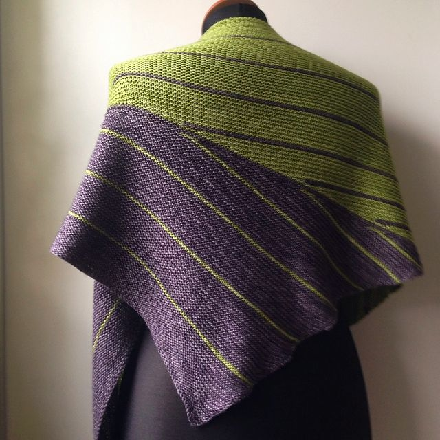 At dawn by Joji Locatelli. malabrigo Sock in lettuce and eggplan coloreways.
