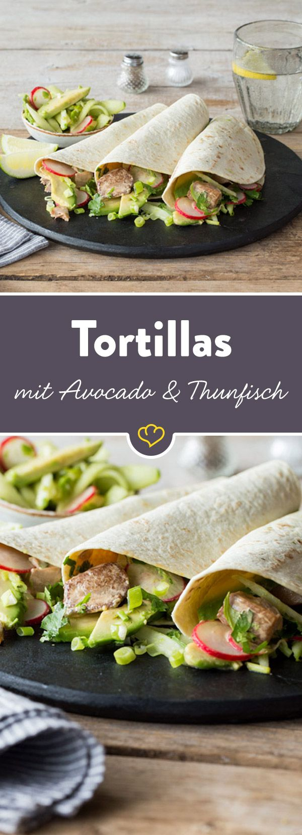 Die aufgerollten Tortilla-Wraps mit knackig-cremiger Füllung aus Avocado, Gurke plus fein gewürztem Thunfisch will man gar nicht aus der Hand geben.