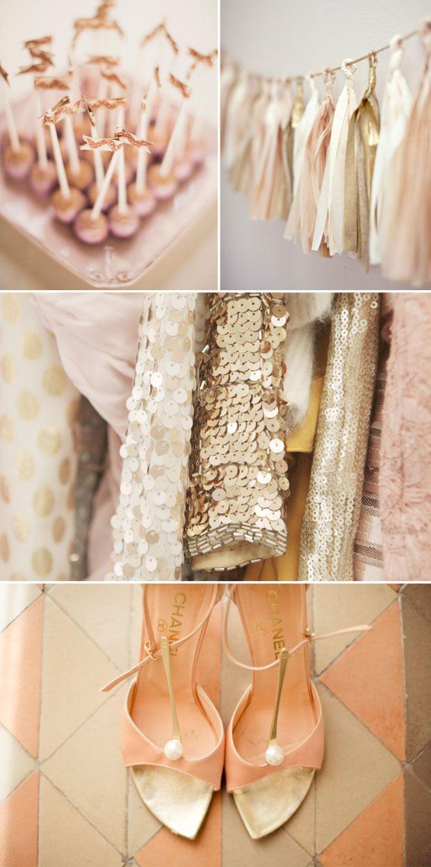 blush, peach, gold, metallic, wedding inspiration board