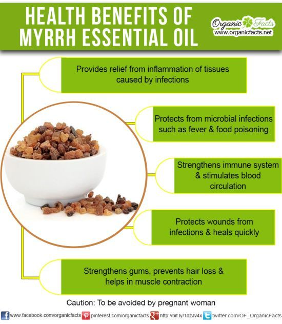 The health benefits of Myrrh Essential Oil can be attributed to its properties like anti microbial, astringent, expectorant, anti fungal, stimulant, carminative, stomachic, anti catarrhal, diaphoretic, vulnerary, antiseptic, immune booster, circulatory, tonic, anti inflammatory and anti spasmodic.