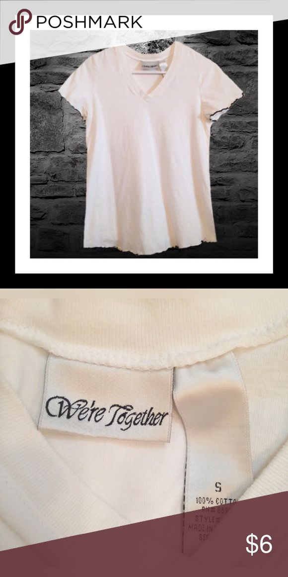 ‼️30% OFF BUNDLES ‼️WE'RE TOGETHER Maternity Top Gently used WE'RE TOGETHER maternity short sleeve top; Thin black detail outlining the shirt; Size small;   ****BUNDLE AND SAVE**** We're Together Tops Tees - Short Sleeve