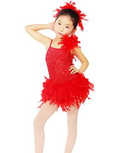 Kinderen - Latin Dans - Jurken/Hoofddeksels (Rood , Nylon/elastan/Lovertjes , Pailletten)