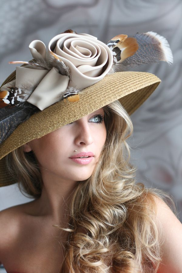 ✿ ~ HAT PARTY `✿⊱╮ *Elegant hat in beige tones | Evening hats by Anna Mikhaylova, via Behance