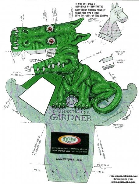 Dragão Verde 3D de Papel que Mexe a Cabeça