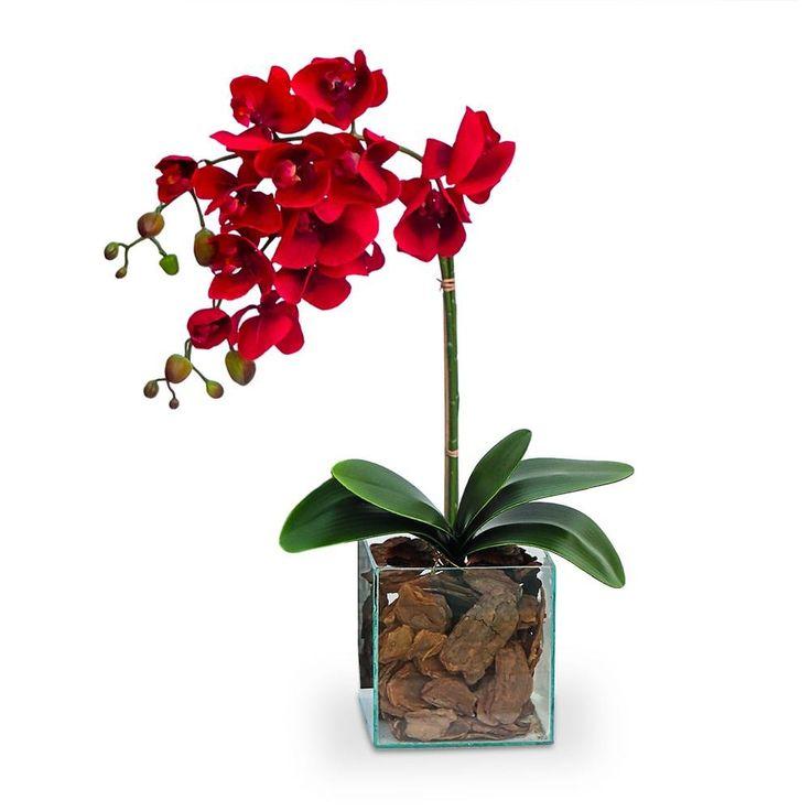 arranjo de flores artificiais orquideas vermelhas no cahcepot de vidro