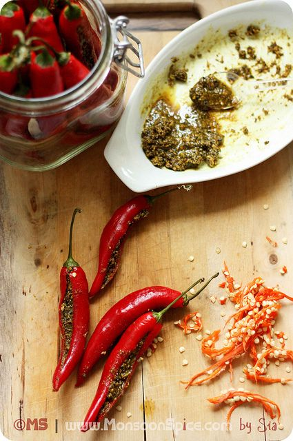 Bharwan mirch ka achaar Stuffed Red Chili Pepper Pickle Indians recipe; would really love to try this.