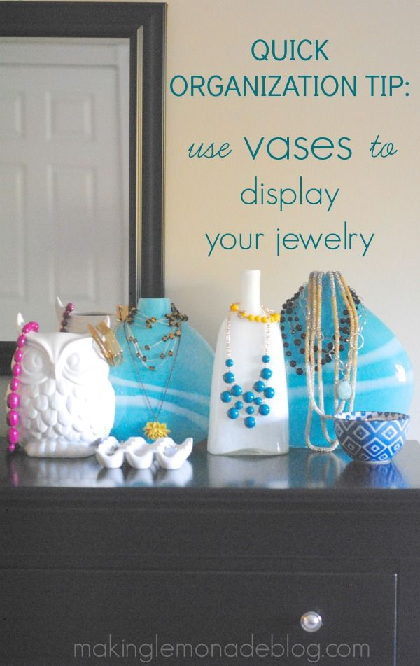 Vases make a gorgeous and useful way to store and display your favorite jewelry! #organization #storage