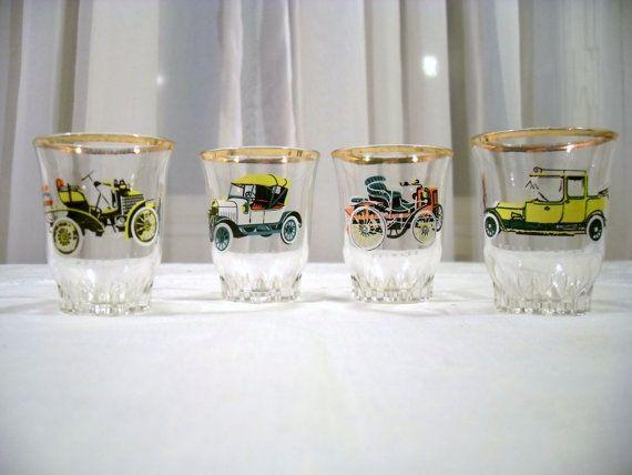 Retro Cars Set Of  4 Shot/ Liquor Glasses by ThatsSoVintageDarlin