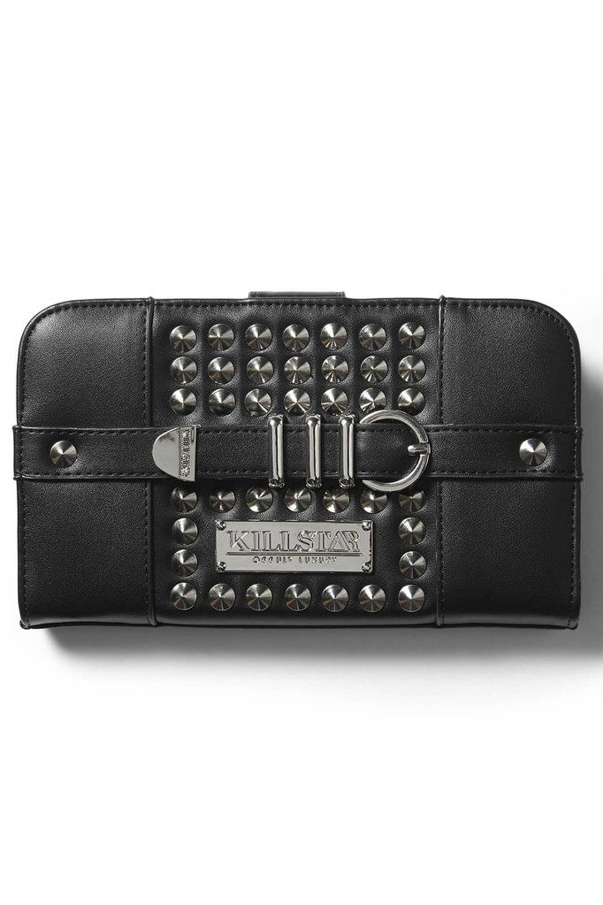 Trix Wallet [B] | KILLSTAR Still lookin' for that perfect wallet? Introducing 'Trix' - a stylish large wallet in a luxe vegan leather body, with multi compartments and zip closure - fit all yer cash, stash, cards and spells - with no effort at all. Perfectly studded front with decorative buckle detailing. The classical shape is ideal to fit yer busy-on-the-move-life & must-haves when you leave the crypt; think of a compartment and ya bet we got it covered.
