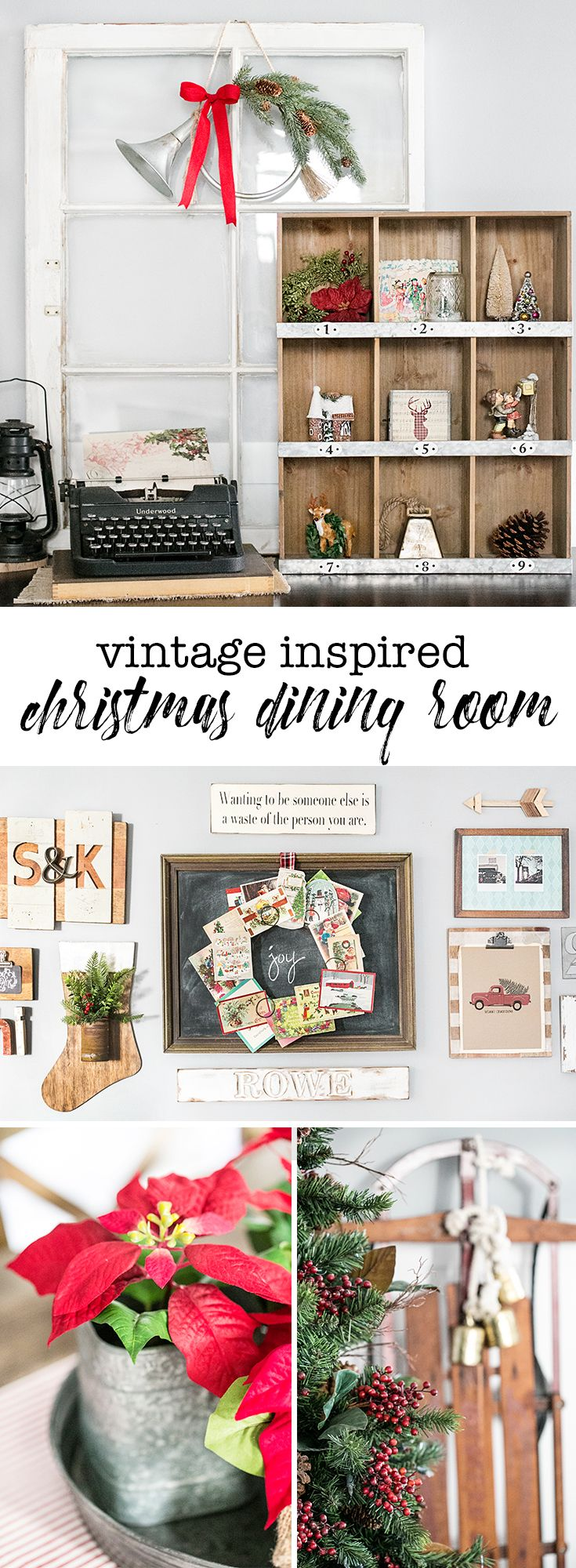 Wreath from old christmas cards - Beautiful Vintage Inspired Christmas Dining Room Decor That Old Typewriter Sled And The Wreath