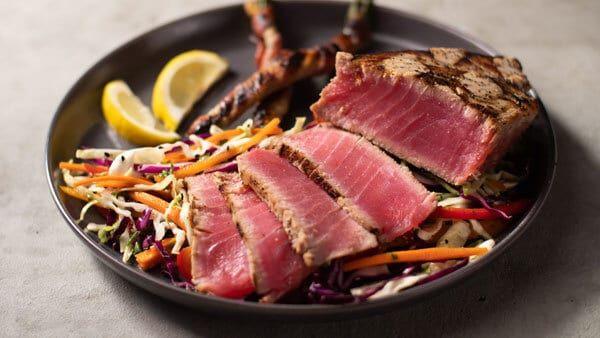 Grilled Seared Ahi Tuna Steak Recipe Grilled Asparagus Bbqguys Recipe In 2020 Easy Tuna Steak Recipe Tuna Steak Recipes Steak Recipes