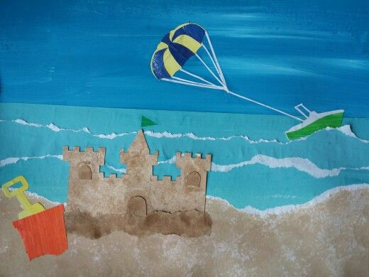 Easy Art Project: Beach Art Project - painted cut/torn paper