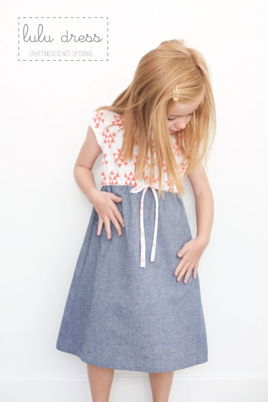 coral triangles and chambray Lulu dress // craftiness is not optional
