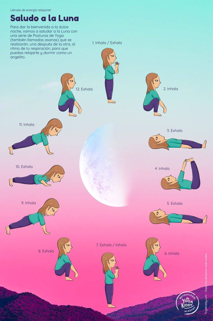 Póster Saludo a la Luna   Yoga infantil, Yoga para niños ...