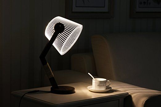Amazon.de: CITTATREND LED Dimmbare Nachttischlampe - 3D Visual Acryl Konische Roll Deco Beleuchtung