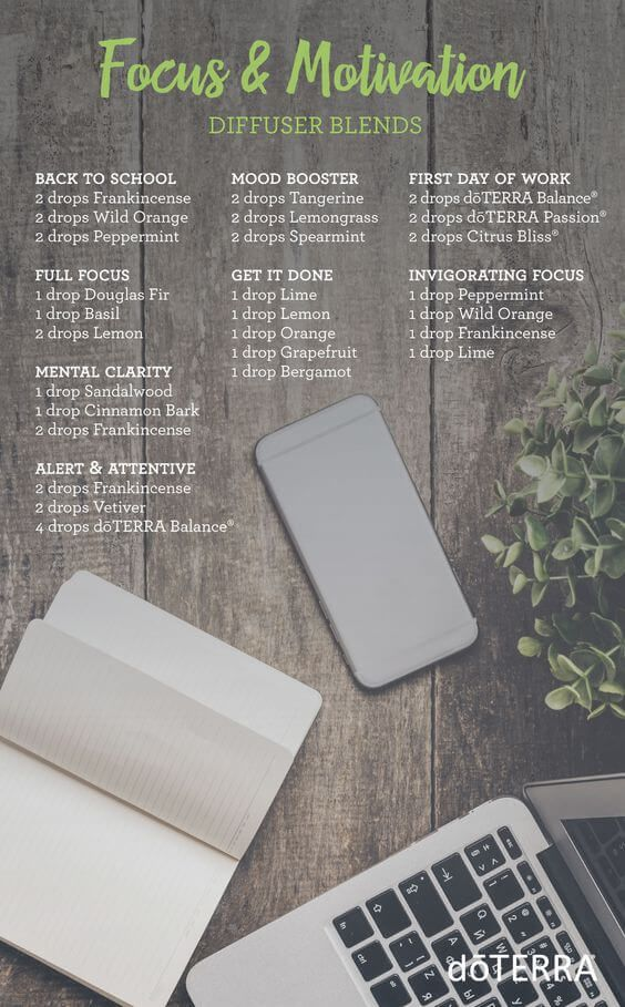 doTERRA Essential Oils Focus and Motivation Diffuser Blends