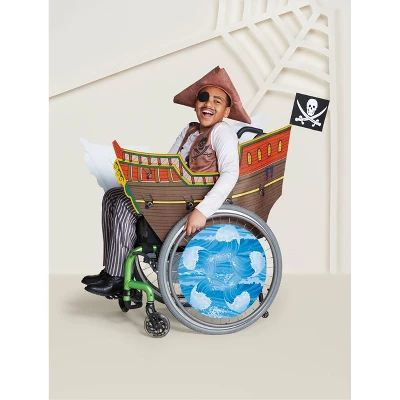 Halloween Boys' Adaptive Pirate Ship Halloween Costume Wheelchair Cover – Hyde and Eek! Boutique , Size: One size, MultiColored