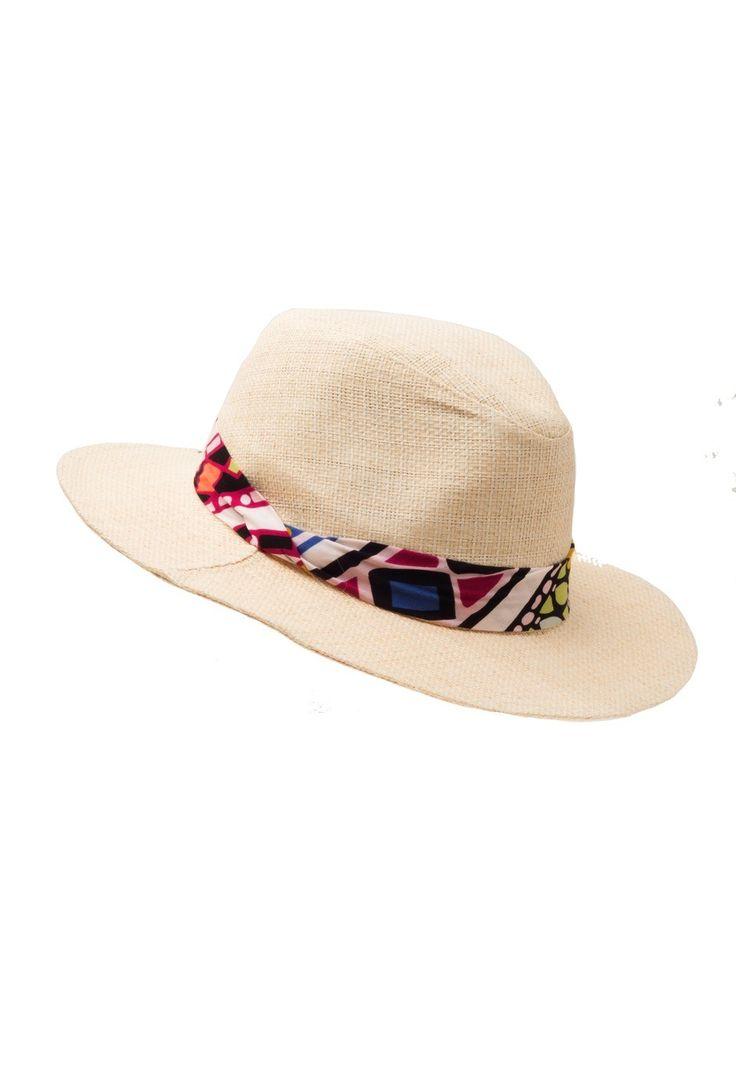 Sombrero Australiano Rafia Wine Pancolor crudo