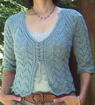 Beat Knitting: Kelso Lace Cardigan Pattern  - Love how this is joined together in the front.