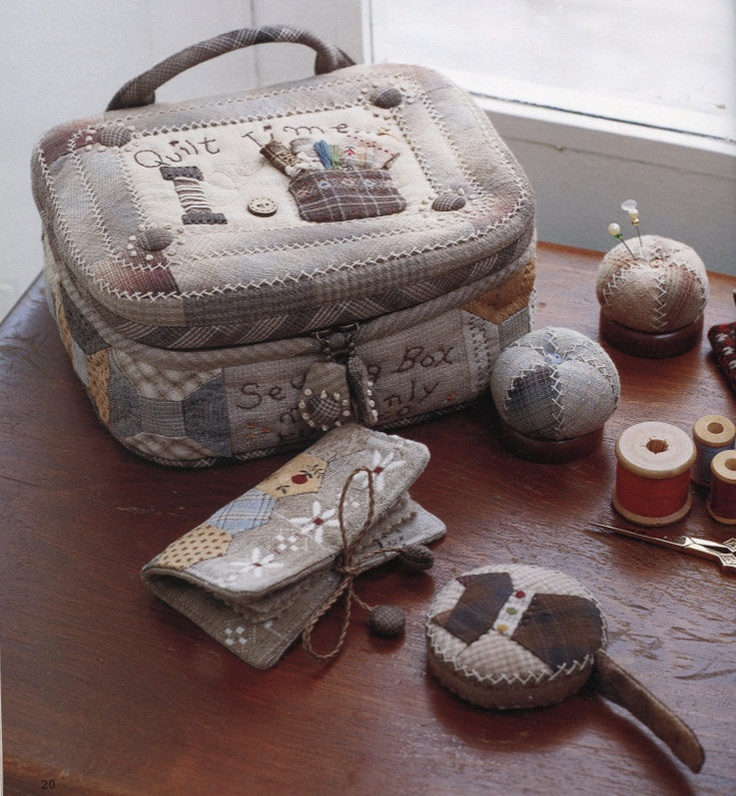 sewing kit case bag needle book pincushion measure tape quliting quilt applique patchwork. Love her patterns!
